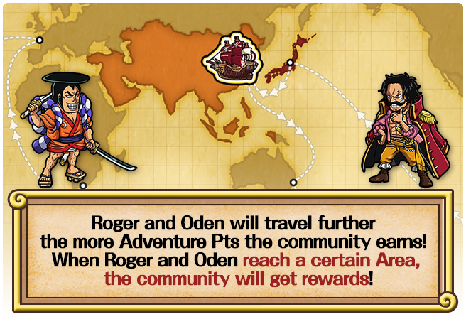 Roger and Oden will travel further the more Adventure Pts the community earns! When Roger and Oden reach a certain Area, the community will get rewards!