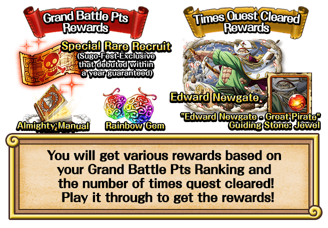 You will get various rewards based on your Grand Battle Pts Ranking and the number of times quest cleared! Play it through to get the rewards!